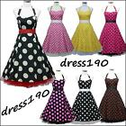 dress190 HALTER POLKA DOT 50's PINUP ROCKABILLY VINTAGE SWING PROM PARTY DRESS