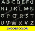 PICK ANY 15 letters -block alphabet rhinestone iron on transfer -CHOOSE COLOR