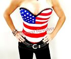 Sexy Womens American Flag Corset Top Punk Rock Chick Glam Gothic Fetish S M L