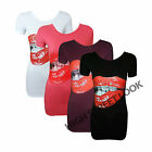 NEW LADIES RED BITING SEXY LIPS GRAPHIC PRINT T-SHIRT VEST TOP SIZE 8-14