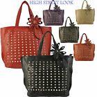 New Ladies Gold Studded Fashion Celebrity Hot Handbags Leather Stylish Tote Bags