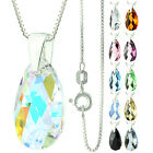 "925 Sterling Silver Faceted Pear Crystal AB Pendant Necklace 16"" 18"" 20"" 24"""