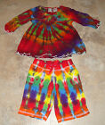 Tie Dye Dyed 12 24 36 Month Girls Top Summer Shirt Capri Pants 2pc Outfit