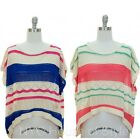 Style High Hi Low Open Knit Weave CROCHET Boho Sweater Slouchy Drape Box Tee Top