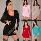 Jumper Long Sweater Tops Ladies Women V Neck Knitted Tunic Mini Dress size S M L