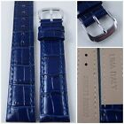 HQ 12~20MM DEEP NAVY BLUE ITALY CROC GRAIN LEATHER WATCH BAND w/S.CLASP 12~20 MM