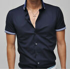 UD36 New Mens Casual Luxury Dress Slim Fit Short Sleeves Shirts