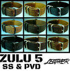 NEW ZULU 5 RING LEATHER PVD & SS MILITARY WATCH BAND/STRAP 18mm/20mm/22mm/24mm