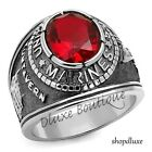 Men's Stainless Steel Siam Red United States US Marines Military Ring Size 8-14