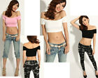 Womens Girl Sexy Off Shoulder Short Sleeve Cropped Stretchy Tops T-Shirt Blouses