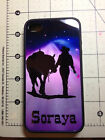 Rubber Cell Phone Case  4, 4 S & 5 ,6  Cowgirl and rose with Horse and your Name