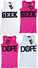 Girls Sugar Babe GEEK & DOPE Print Racer Back Vest Top 7-13 Years NEW