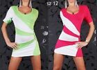 LADIES SHORT SLEEVE BODYCON LONG TUNIC TOP/MINI DRESS ONE SIZE/12