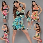 Summer Flowers Mini Dress Sexy Womens Floral Dress ONE SIZE (6,8,10,12,14,16) UK