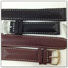 HQ Black Lambskin leather Strap White Stitch 5mm thick Watch band 20 18 mm Solid