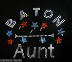 BATON AUNT BLACK T CRYSTAL RHINESTONE BATON AUNT RED AND BLUE STARS, ADULT SIZES