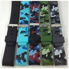 HQ 22mm Curved Rubber Strap Military Army Camouflage Fit Ice Watch Band O Seiko