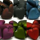 10 Rubberized Plastic Acrylic 16mm Heart Beads With Smooth Soft Rubber Coating