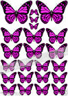 23 Pretty PINK Mixed Size BUTTERFLIES Edible Cake Toppers DECORATIONS Rice Paper