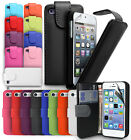 FLIP LEATHER CASE COVER FITS APPLE IPHONE 4 4S 5 5S 5C SE  FREE SCREEN PROTECTOR