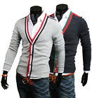 Z6163 New Fashion Mens Casual Slim Fit Long Sleeve Sweaters Shirts BLACK,GREY