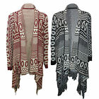 Ladies Waterfall Aztec Print Womens Long Sleeve Oversized Knitted Open Cardigan