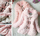 NWT Baby Toddler Girls Faux Fur Fleece Floral Lined Coat Kids Winter Warm Jacket