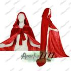 New Halloween Red Hooded Cloak Velvet Cape Wedding Wicca SCA Stock Size S-XXL