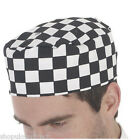 Dennys Black & White Check Unisex Catering Chef Skull Cap Cooking Professional