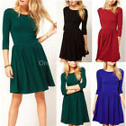 █ Women Celeb Casual Long Sleeve Evening Cocktail Party Skater Mini Short Dress
