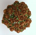 50 COFFEE BROWN MULBERRY PAPER OPEN ROSES/FLOWERS 1cm (10mm) and 1.5cm (15mm)