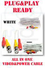 50FT CCTV CAMERA CABLE SURVEILLANCE CordPower SECURITY LOT Zmodo/Swann/QseeWhite