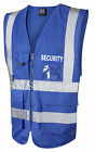 HI VIS VIZ ROYAL BLUE EXECUTIVE VEST WAISTCOAT VEST  SECURITY TEXT printed