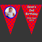 Personalised KIDS POLKA DOT Photo BUNTING Banner - Birthday Party Christening