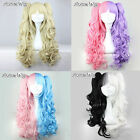 Lolita 80cm Long Curly Cosplay Party Lovely Lady Anime Hair Wig + Two Ponytails