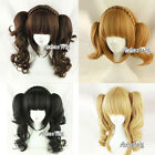 Lolita Women Girls Cosplay Party Short Wavy Anime Hair Wig + Two Ponytails