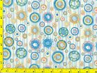 Blue Red Lime Green Circles in Circles Blue Stripes Quilting Fabric by Yard #364