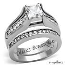 Stunning Princess Cut CZ Stainless Steel Wedding Ring Band Set Women's Size 5-10