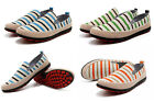 UK NEW Mens Slip on Striped Canvas Casual Deck Boat Loafers Shoes Pumps Trainers