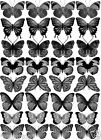 32 MIXED Grey / Silver -  Butterflies Various Designs Edible Cup Cake Toppers