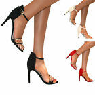 WOMENS GLITTER PEEP TOE STILETTO HIGH HEELS SHOE STRAPPY ANKLE PARTY SANDAL