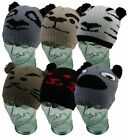 Animal Face Beanie Hat with Pom Poms ONE SIZE acrylic UNISEX (FREE POSTAGE)