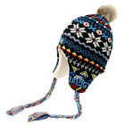 BNWT Boys NO FEAR Knitted Inca/Trapper Hat *Fleece-Lined* 3-7yrs Fairisle Winter