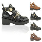 LADIES WOMENS MID LOW HEEL FLAT BUCKLE CUT OUT CHUNKY BIKER ANKLE BOOT SHOE SIZE