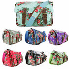 LADIES FLORAL FLOWER OILCLOTH SADDLE CROSS BODY SATCHEL SCHOOL SHOULDER  BAG