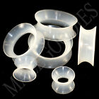 V131 Double Flare Clear Silicone Squishy Saddle Plugs Tunnels Soft Skinny Gauges