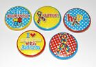 "Set of 5 Bright Autism 1"" Button Embellishments for bows and other crafts"