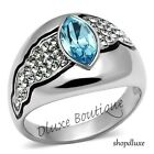WOMEN'S AQUAMARINE & CLEAR CZ EVIL EYE STAINLESS STEEL FASHION RING SIZE 5-10