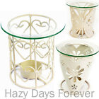 CREAM METAL Shabby Chic Oil Burner & YANKEE CANDLE Wax Tart butterfly hearts