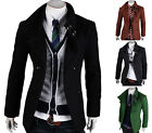 New Men's Slim Fit Trench Casual Double Breasted Strap Coat Long Jacket Overcoat